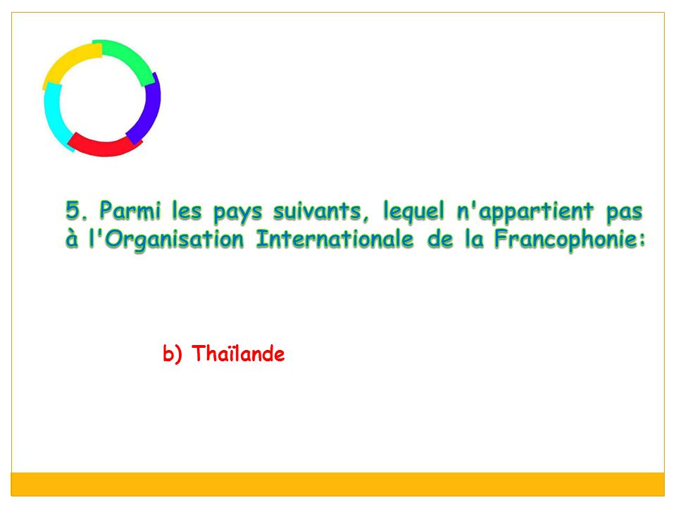 5. Parmi les pays suivants, lequel n appartient pas à l Organisation Internationale de la Francophonie: