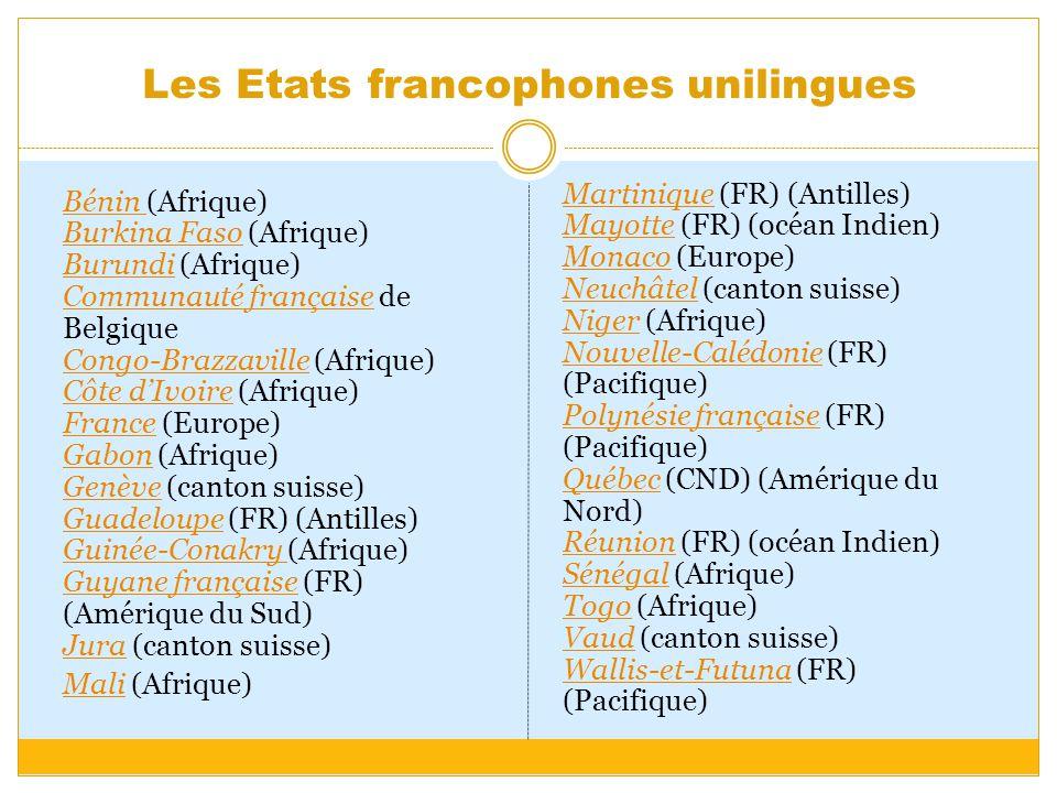 Les Etats francophones unilingues