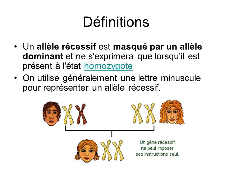 Définitions Un allèle récessif est masqué par un allèle dominant et ne s exprimera que lorsqu il est présent à l état homozygote.