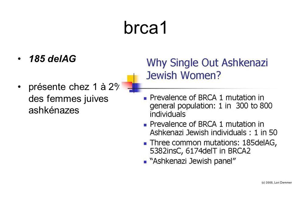 brca1 185 delAG présente chez 1 à 2% des femmes juives ashkénazes