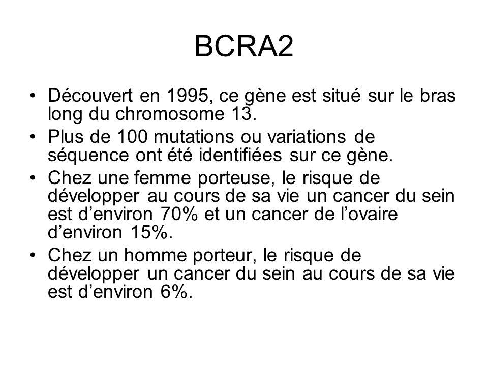 BCRA2 Découvert en 1995, ce gène est situé sur le bras long du chromosome 13.