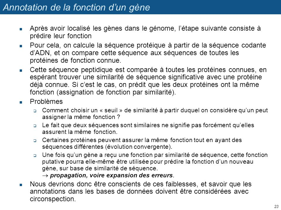 Annotation de la fonction d'un gène
