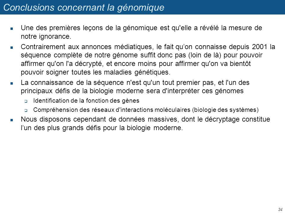 Conclusions concernant la génomique