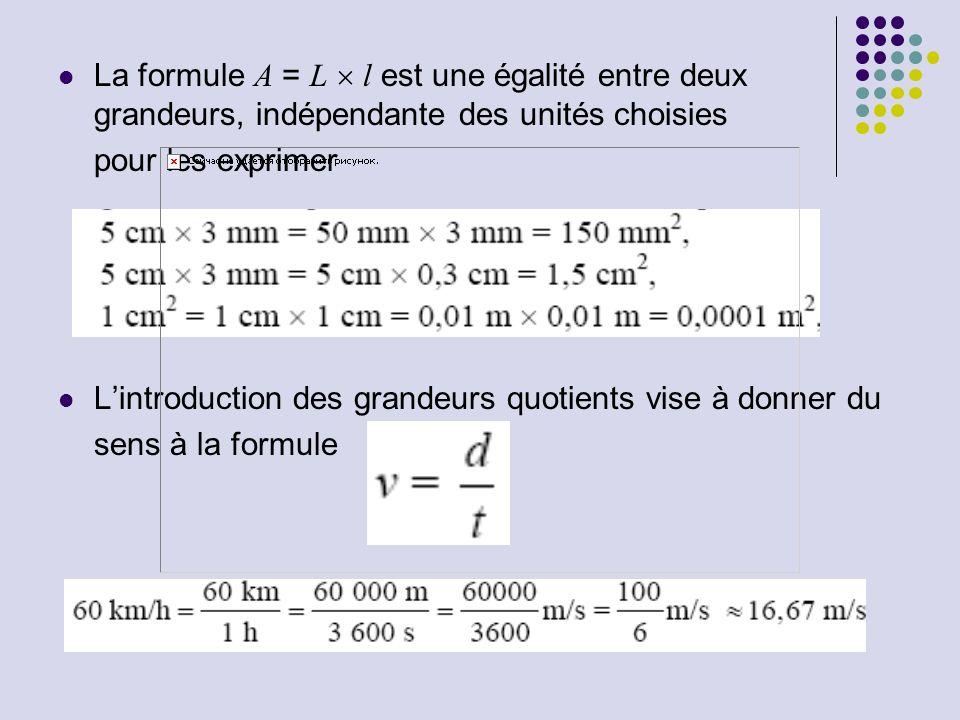 La formule A = L  l est une égalité entre deux grandeurs, indépendante des unités choisies