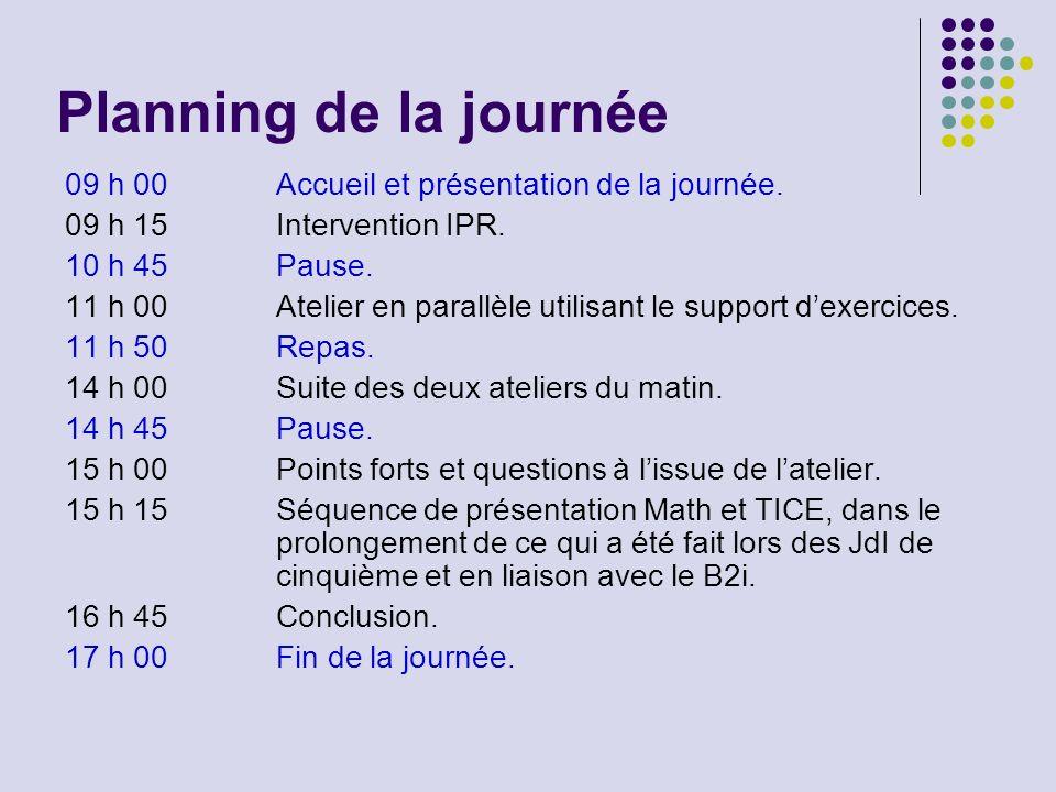 Planning de la journée 09 h 00 Accueil et présentation de la journée.