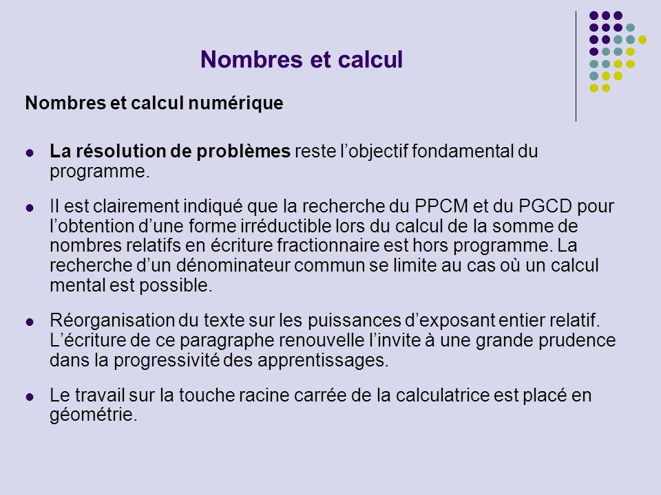 Nombres et calcul Nombres et calcul numérique