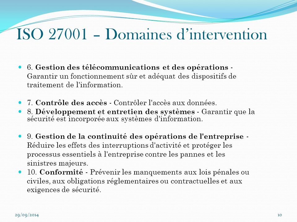 ISO 27001 – Domaines d'intervention