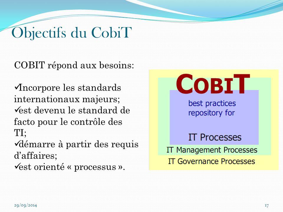 Objectifs du CobiT COBIT répond aux besoins: Incorpore les standards