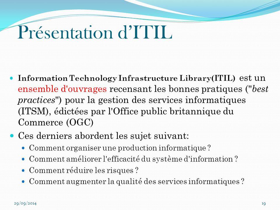 Présentation d'ITIL Ces derniers abordent les sujet suivant: