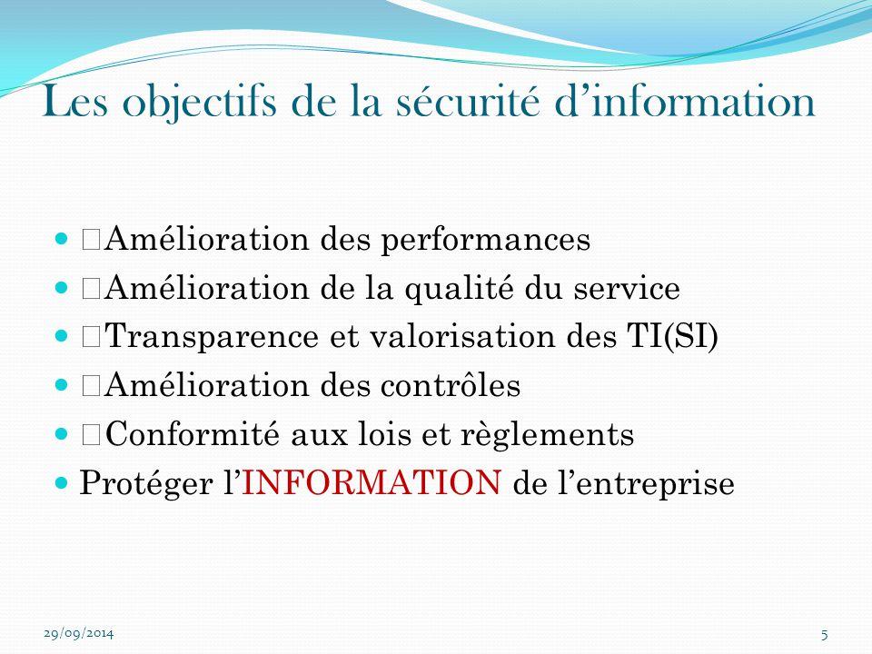 Les objectifs de la sécurité d'information