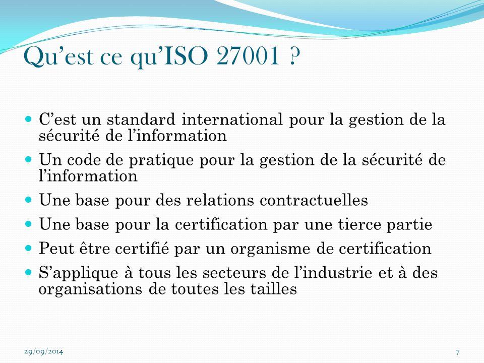 Qu'est ce qu'ISO 27001 C'est un standard international pour la gestion de la sécurité de l'information.
