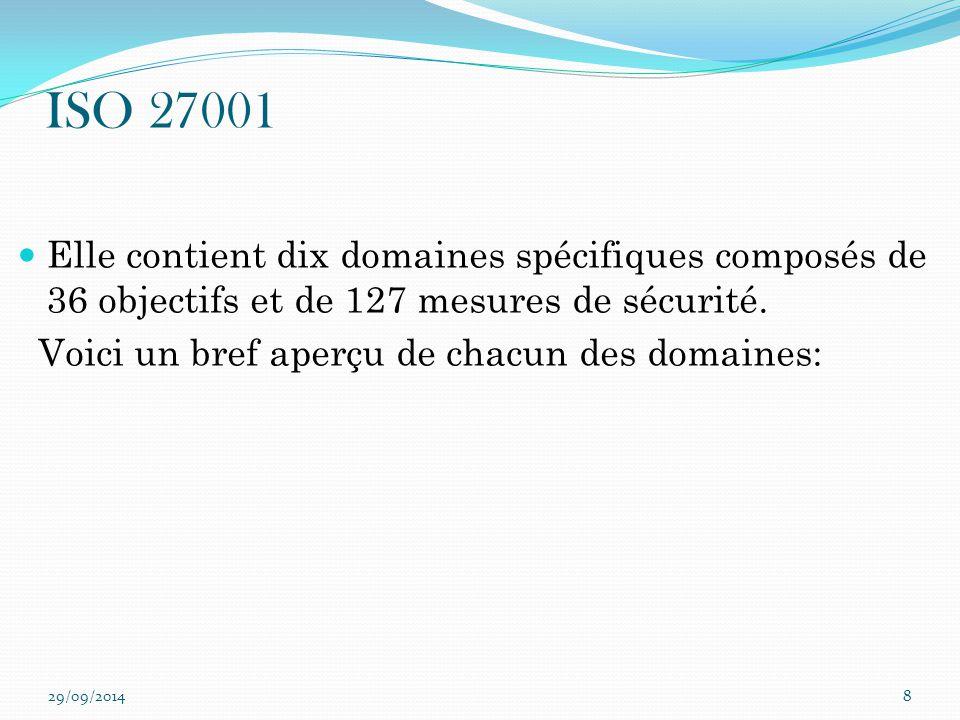 ISO 27001 Elle contient dix domaines spécifiques composés de 36 objectifs et de 127 mesures de sécurité.