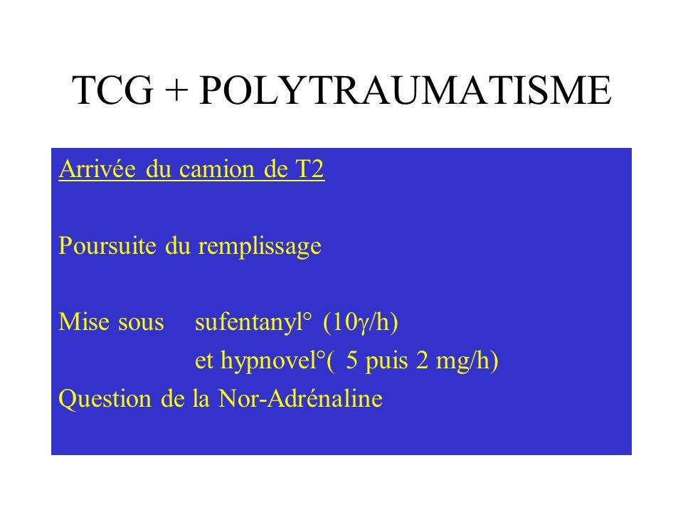 TCG + POLYTRAUMATISME Arrivée du camion de T2 Poursuite du remplissage