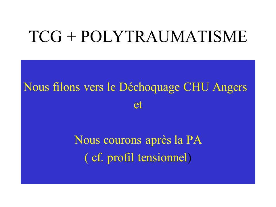 TCG + POLYTRAUMATISME Nous filons vers le Déchoquage CHU Angers et