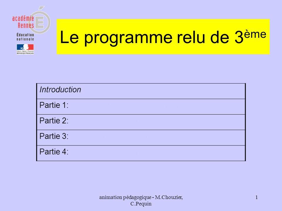 Le programme relu de 3ème