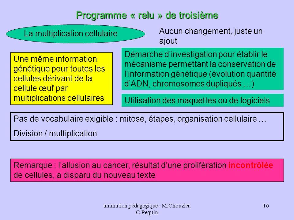 Programme « relu » de troisième
