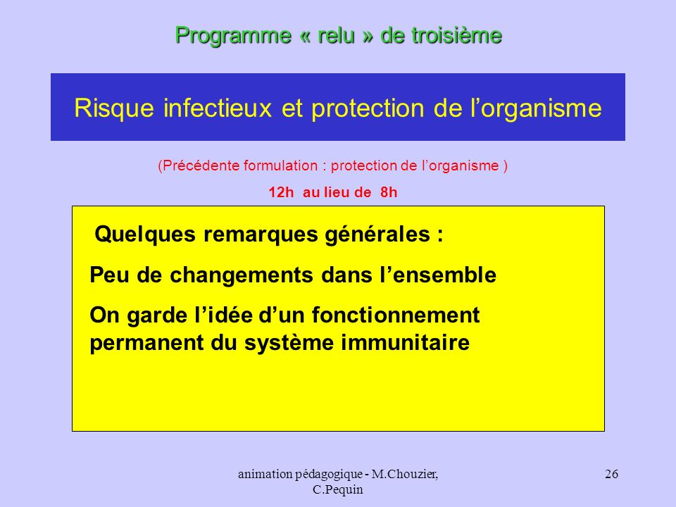 Risque infectieux et protection de l'organisme