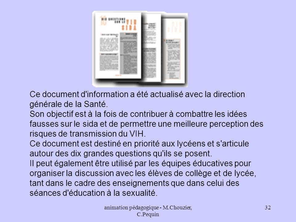 animation pédagogique - M.Chouzier, C.Pequin
