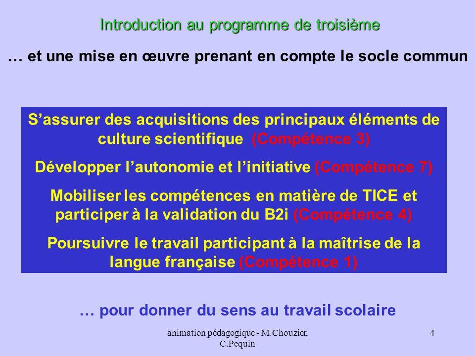Introduction au programme de troisième