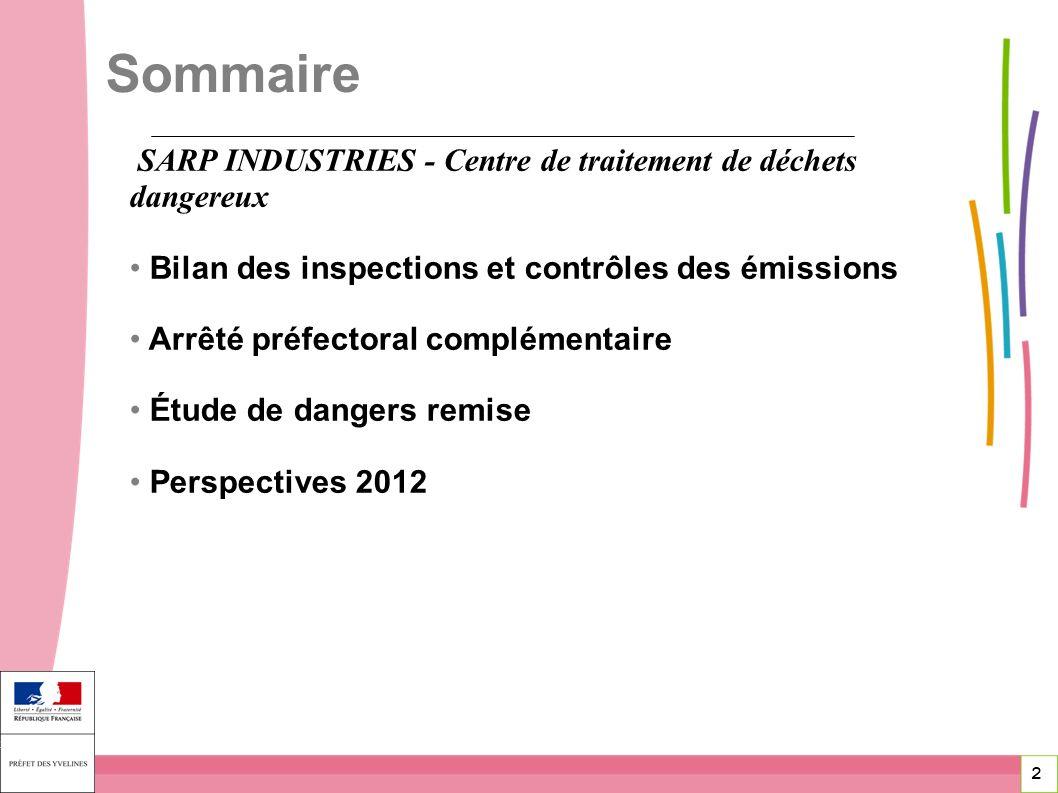 Sommaire SARP INDUSTRIES - Centre de traitement de déchets dangereux