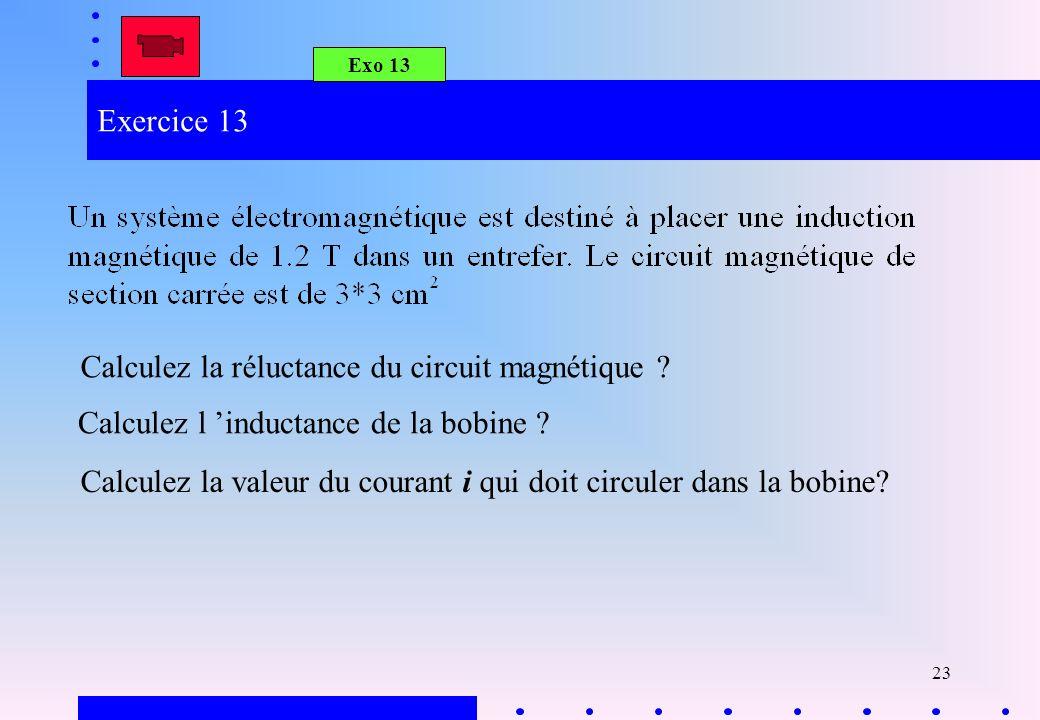 Calculez la réluctance du circuit magnétique