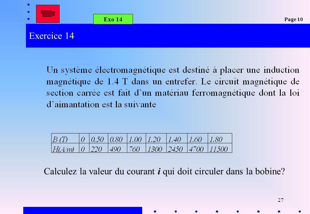Calculez la valeur du courant i qui doit circuler dans la bobine