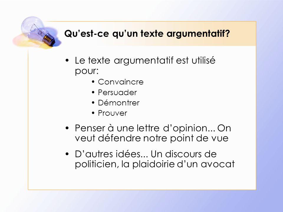 Qu'est-ce qu'un texte argumentatif