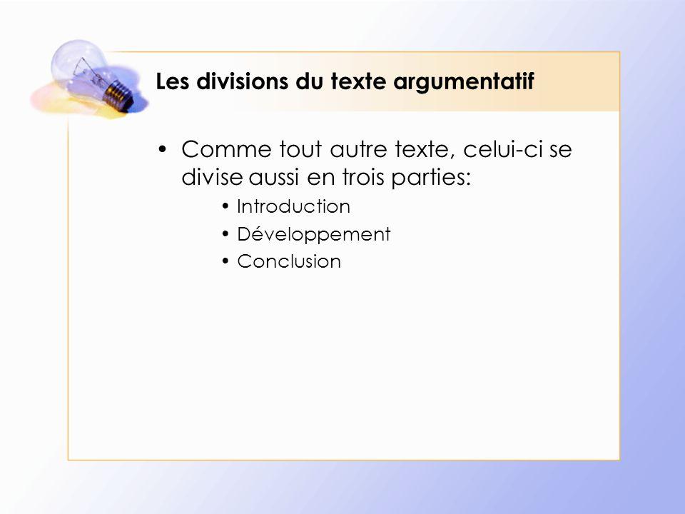 Les divisions du texte argumentatif