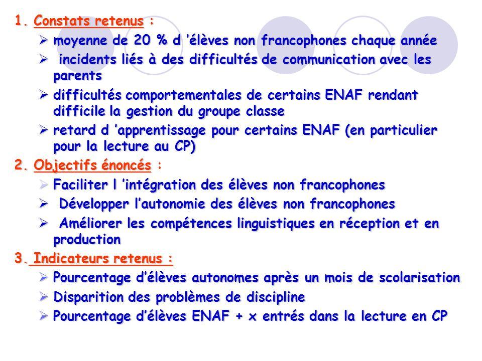 1. Constats retenus :moyenne de 20 % d 'élèves non francophones chaque année. incidents liés à des difficultés de communication avec les parents.