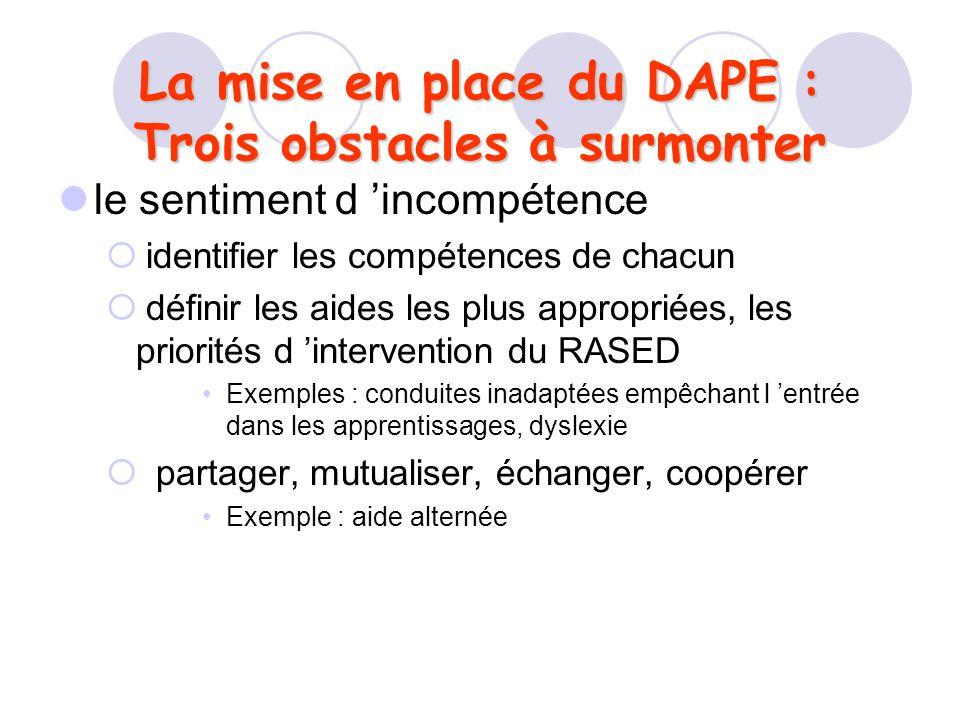 La mise en place du DAPE : Trois obstacles à surmonter