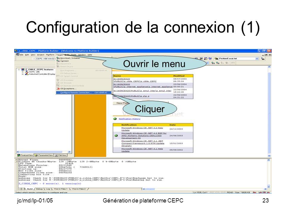 Configuration de la connexion (1)
