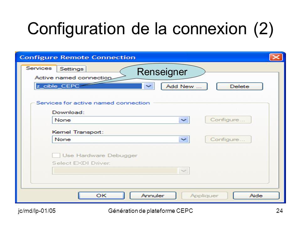 Configuration de la connexion (2)