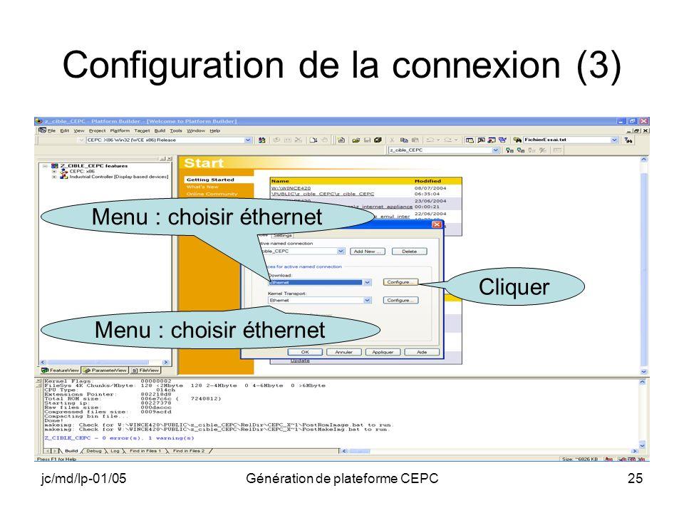 Configuration de la connexion (3)