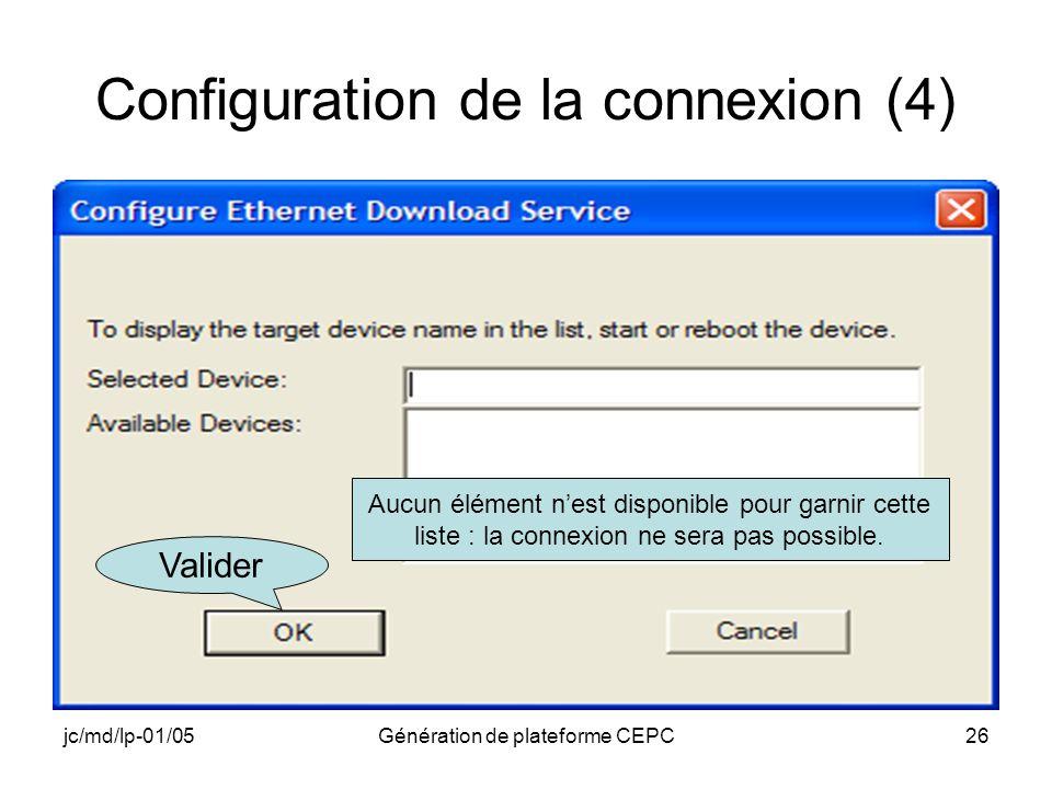 Configuration de la connexion (4)
