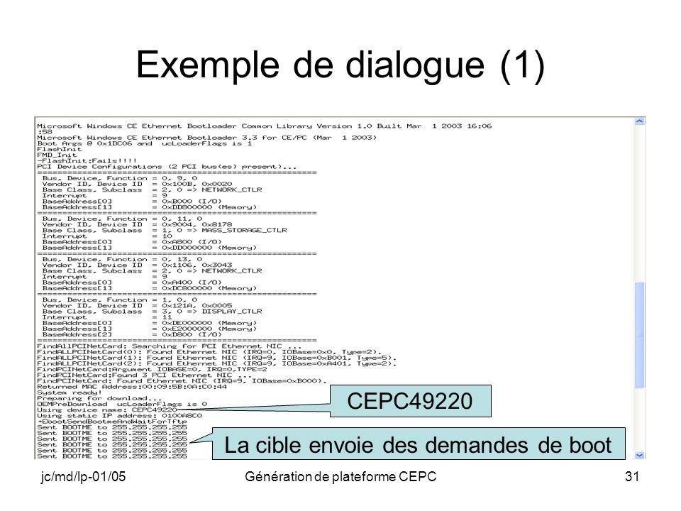 Exemple de dialogue (1) CEPC49220 La cible envoie des demandes de boot