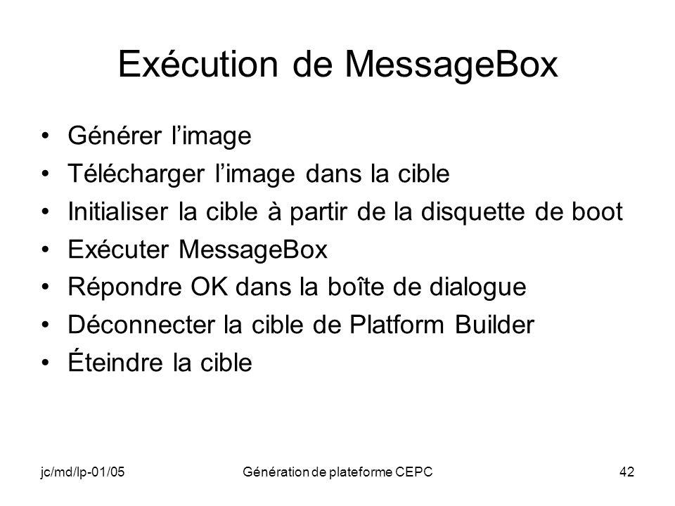 Exécution de MessageBox
