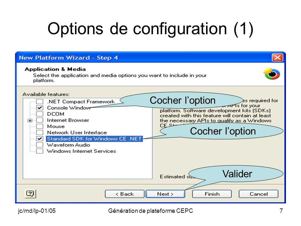 Options de configuration (1)