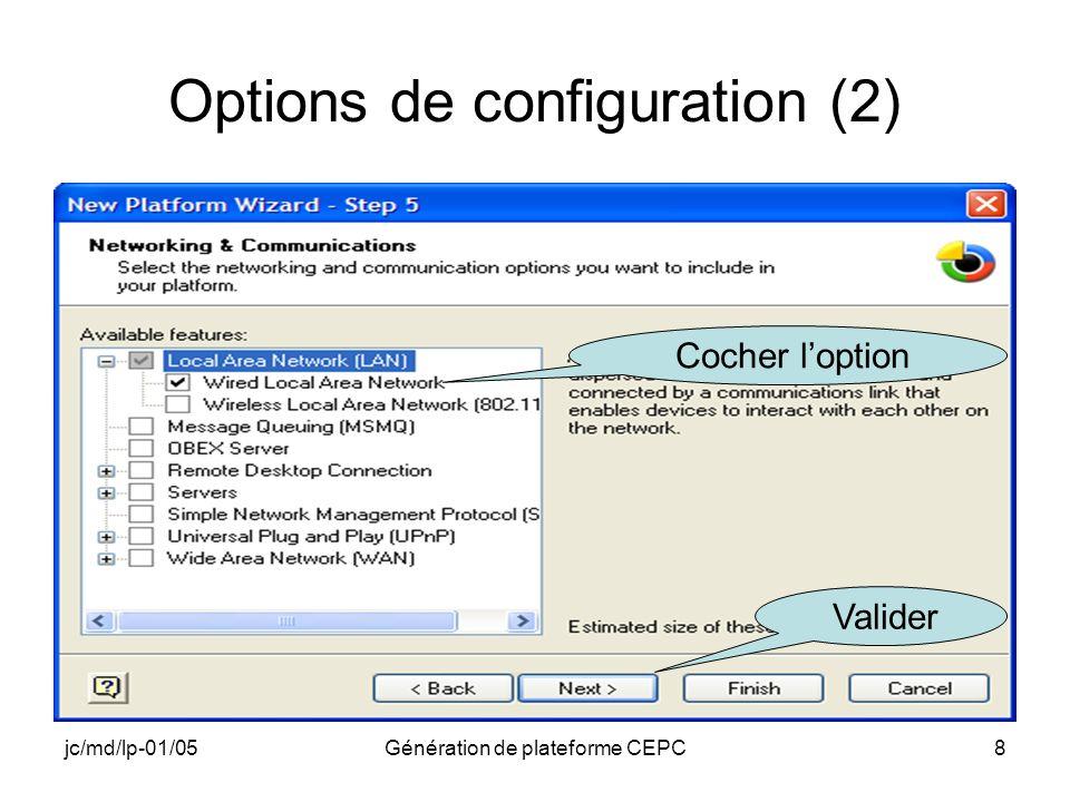 Options de configuration (2)