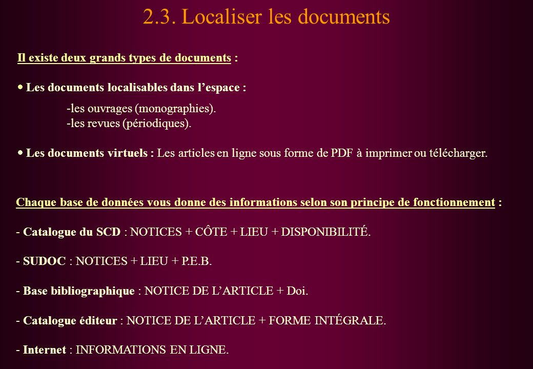 2.3. Localiser les documents