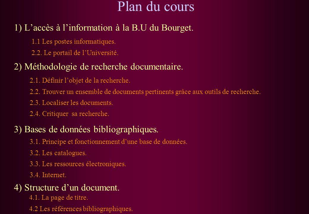 Plan du cours 1) L'accès à l'information à la B.U du Bourget.
