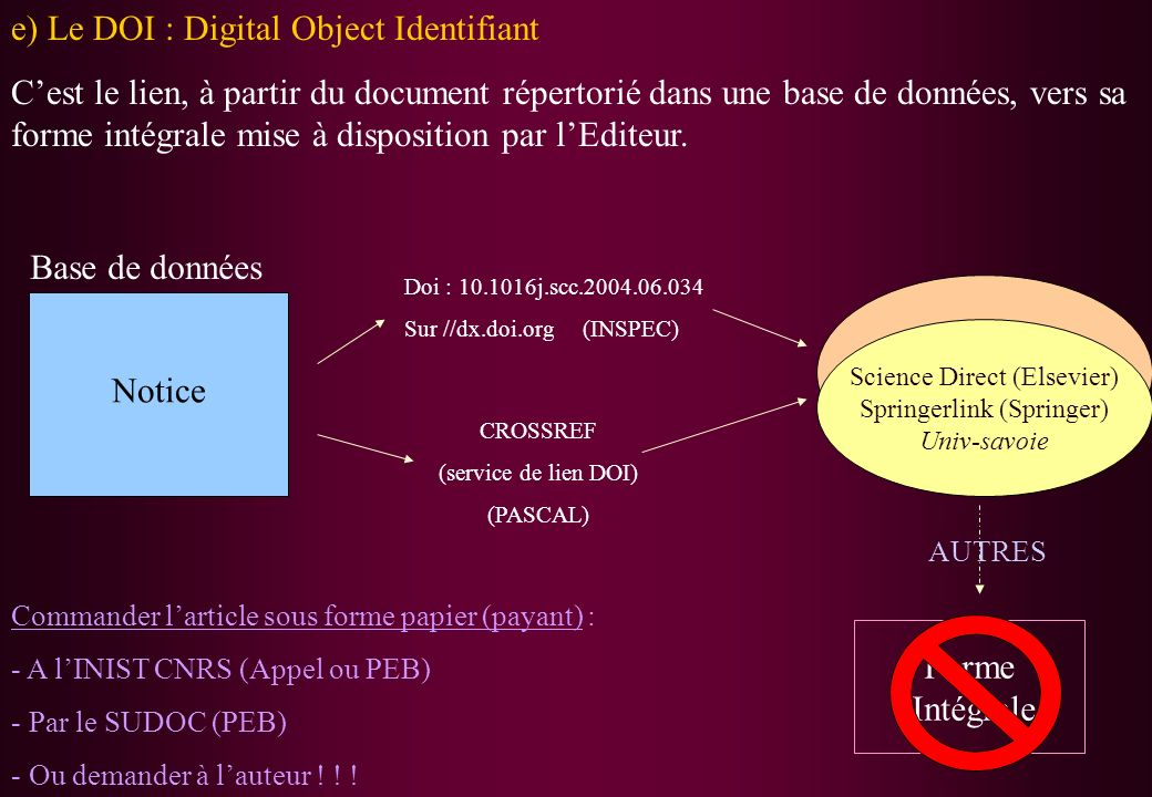 e) Le DOI : Digital Object Identifiant