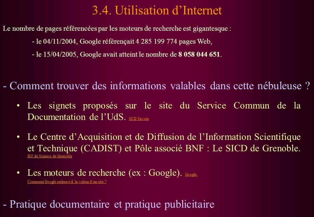 3.4. Utilisation d'Internet