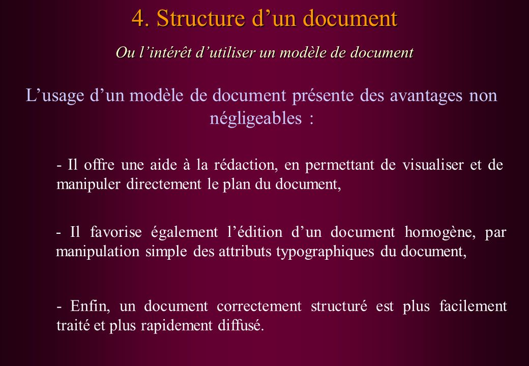 4. Structure d'un document