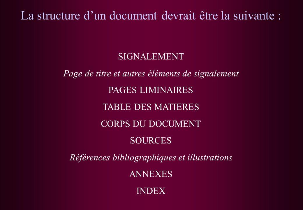 La structure d'un document devrait être la suivante :