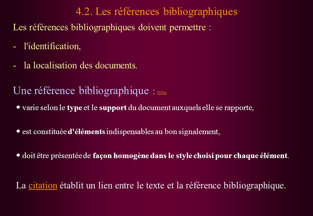 4.2. Les références bibliographiques