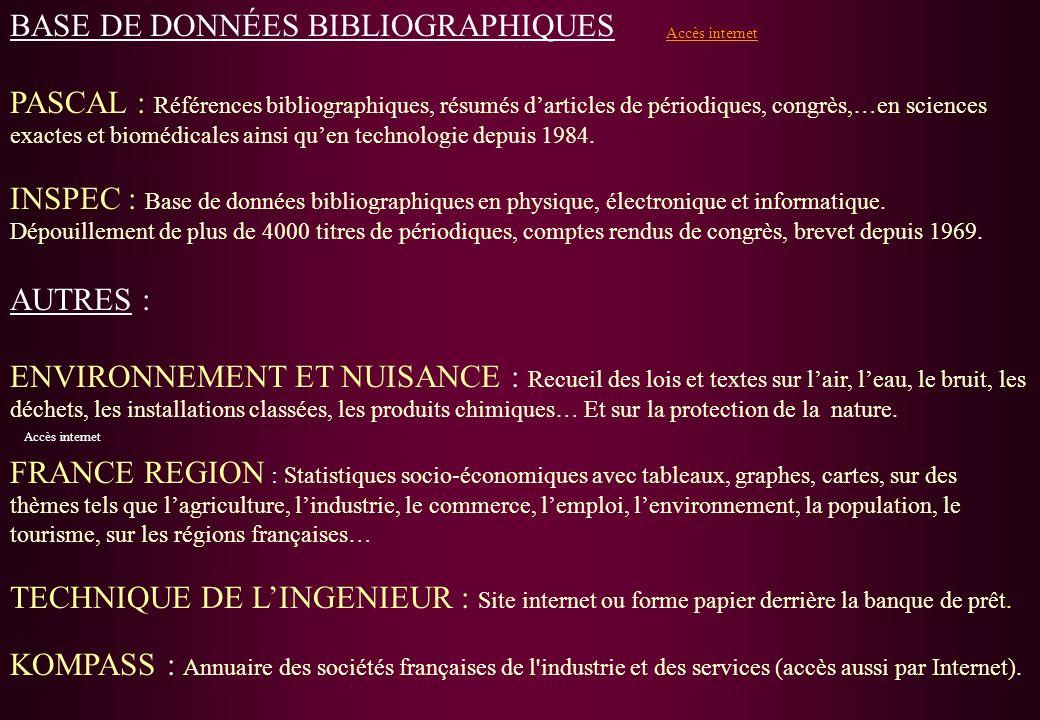 BASE DE DONNÉES BIBLIOGRAPHIQUES