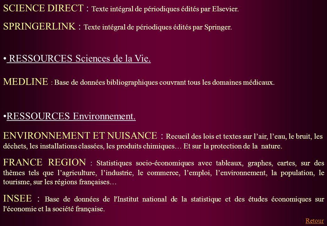 SCIENCE DIRECT : Texte intégral de périodiques édités par Elsevier.
