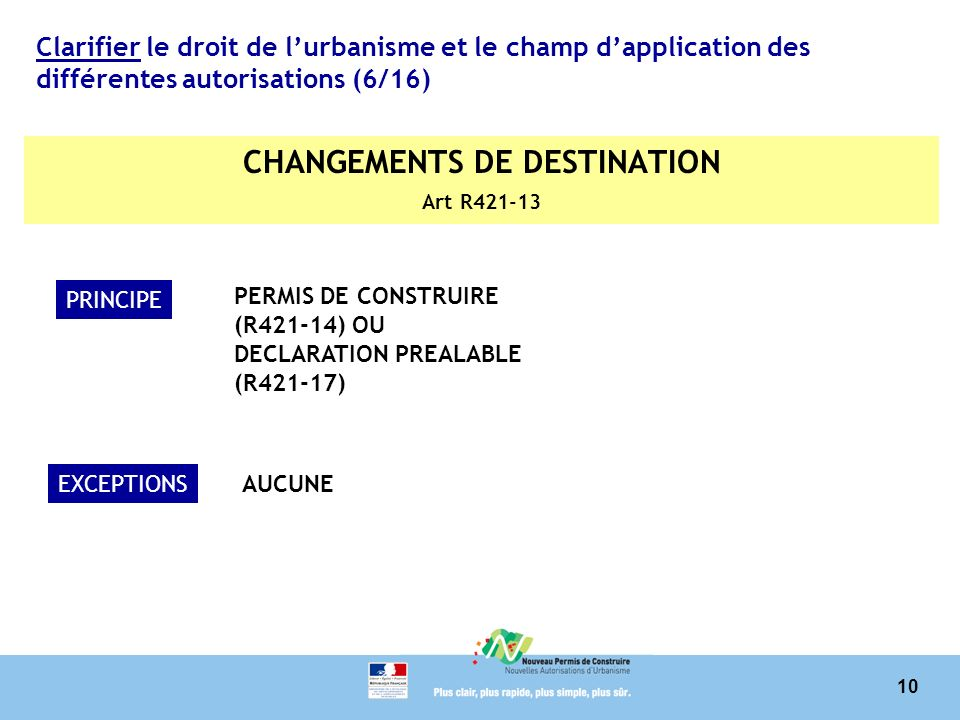CHANGEMENTS DE DESTINATION