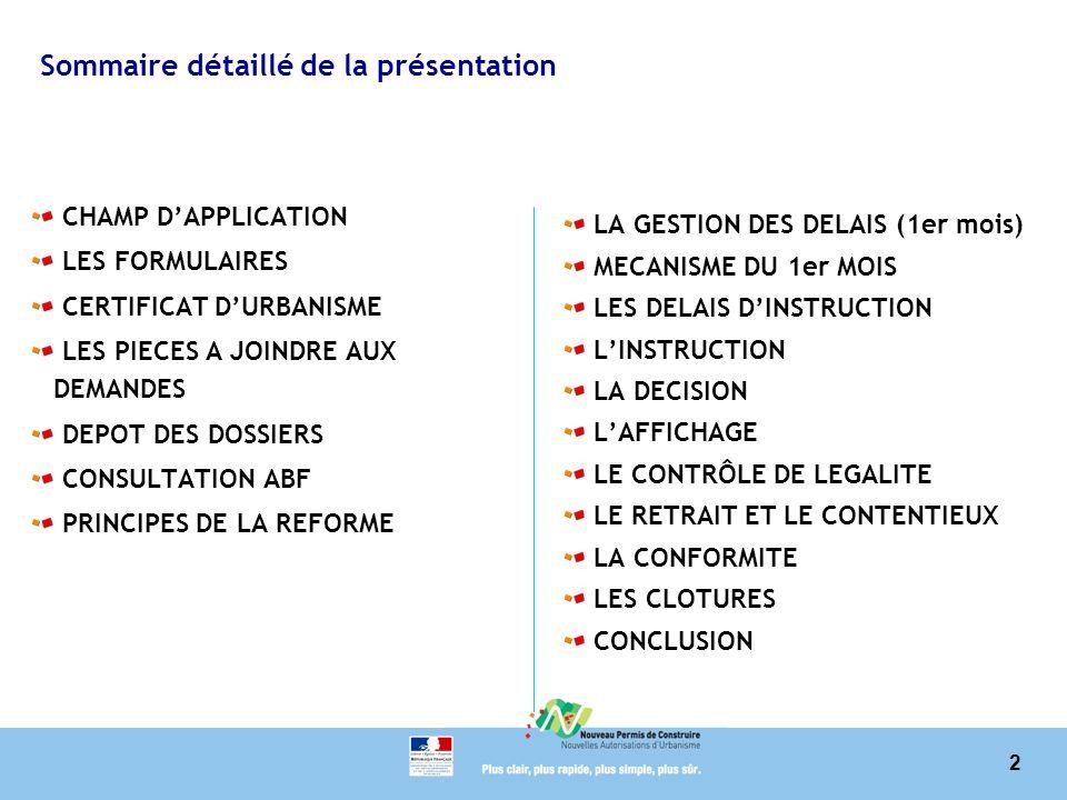 Sommaire détaillé de la présentation