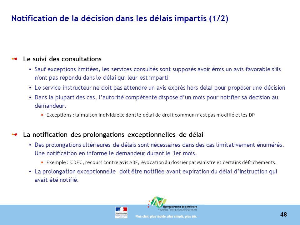 Notification de la décision dans les délais impartis (1/2)